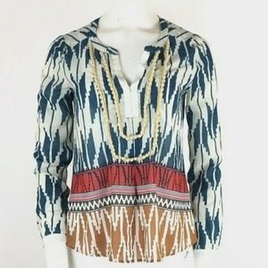 Anthropologie Printed Popover Top